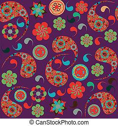 cachemira, patrón, seamless, ilustración, vector, menú, muestra