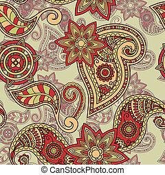 cachemira, patrón, seamless, mano, vector, dibujado