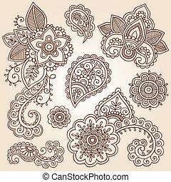 cachemira, vector, conjunto, alheña, flor