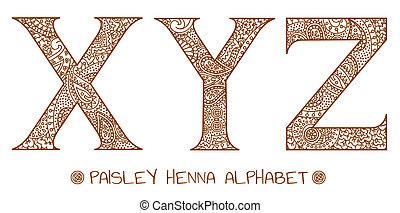 cachemira, y, x, alfabeto, alheña, z