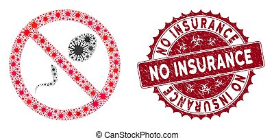 cachet, contraception, assurance, collage, coronavirus, textured, non, icône