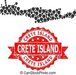 cachet, crète, mosaïque, île, timbre, carte, marqueur, caoutchouc