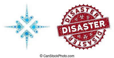 cachet, désastre, collage, flèches, coronavirus, impact, icône, détresse
