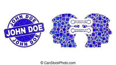 cachet, détresse, intégration, john, mosaïque, biche, bleu, tête, liens