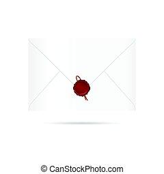 cachet, enveloppe, illustration, lettre, cire, rouges