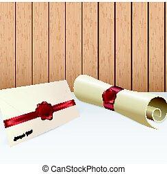 cachet, enveloppe, papier, cire, rouleau, rouges