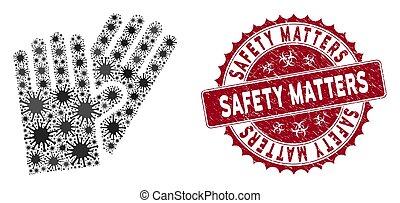 cachet, gants, sécurité, grunge, compter, coronavirus, caoutchouc, mosaïque, icône