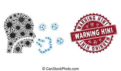 cachet, h1n1, virus, patient, coronavirus, textured, mosaïque, icône, avertissement