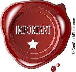 cachet, important, mot, rouges, cire