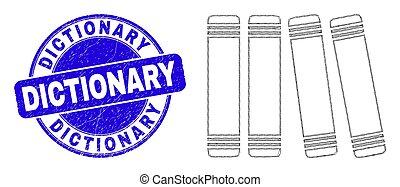 cachet, livres, bleu, toile, maille, dictionnaire, détresse