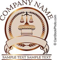 cachet, -, ou, justice, avocat, droit & loi, or, ionique, balances, colonne