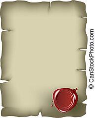 cachet, papier, vieux, rouges, cire