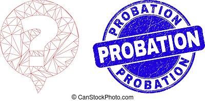 cachet, probation, maille, bleu, question, toile, détresse