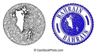 cachet, rond, inversé, réseau, timbre, détresse, maille, carte, bahrain