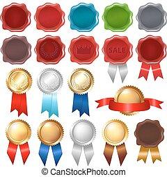 cachet, rubans, collection, récompense, cire