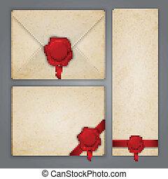 cachet, vieilli, papier, enveloppe, cire