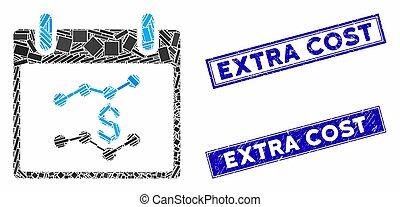 cachets, mosaïque, jour, calendrier, diagrammes, rectangle, financier, gratté