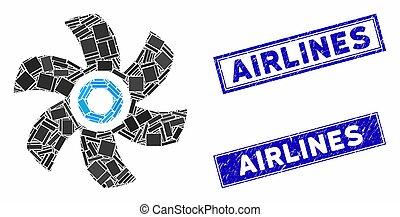cachets, timbre, rectangle, mosaïque, détresse, rotor