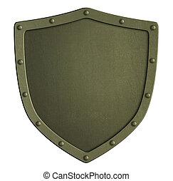 cachi, metallo, scudo, isolato, 3d, illustrazione