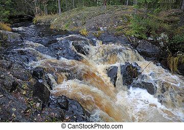 cachoeira, ahvenkoski, karelia, rússia