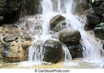 cachoeira, córregos, em, um, geológico, parque