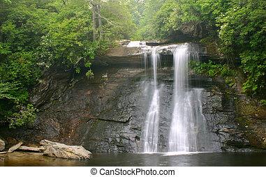 cachoeira, e, pedregulho, em, luxuriante, floresta verde