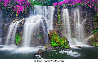 cachoeira, em, havaí