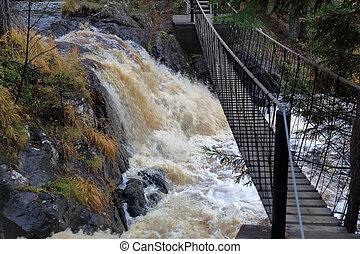 cachoeira, karelia, ahvenkoski, rússia