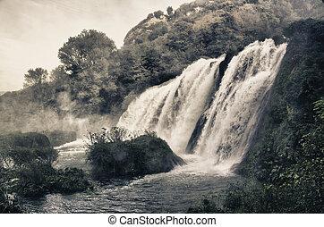 cachoeiras, impressionante,  marmore,  Úmbria, vista