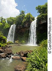 cachoeiras, quedas, dois, iguazu