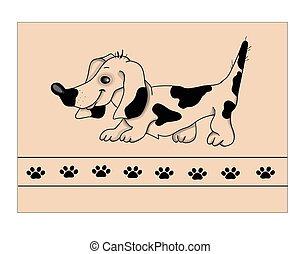 cachorro branco, illustration., bassê, vetorial, experiência.
