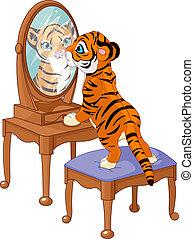 cachorro de tigre, mirar en el espejo