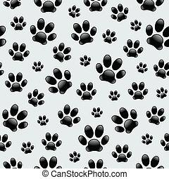 cachorro, footprints-seamless, padrão