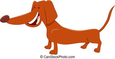 cachorro marrom, personagem, caricatura, bassê