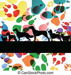 cachorros, e, cão, pegadas, silhuetas, coloridos,...