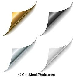 cachos, ouro, metal, vetorial, pretas, canto, branca, template., página