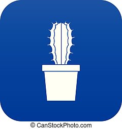 Cactaceae cactus icon digital blue for any design isolated ...