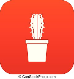 Cactaceae cactus icon digital red for any design isolated on...