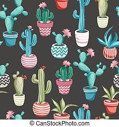 Cacti flower seamless pattern. - Cacti flower background....