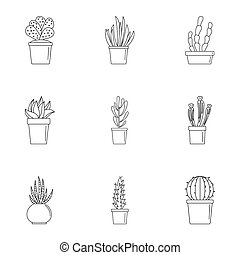 Cacti icon set, outline style