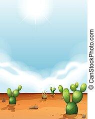 cacti, in, den, öken