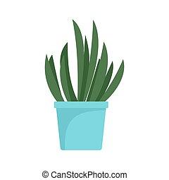 Cacti pot icon, flat style