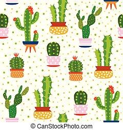 Cacti seamless pattern. Spiky cactus, desert plants bright repeated texture cute flower print aloe vera botanical vector illustration
