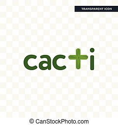 cacti vector icon isolated on transparent background, cacti logo design
