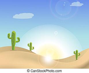 cacto, escena, desierto