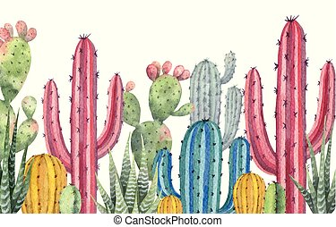 cactos, fondo., vector, bandera, plantas, acuarela, ...