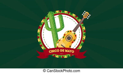 cactu, guitare, cinco, célébration, de, mexicain, mayonnaise