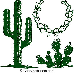 A small collection of cactus clip art