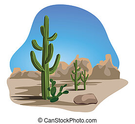 A Latin American desert scene with rocks and cactus