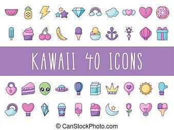 cactus and kawaii icon set, flat style
